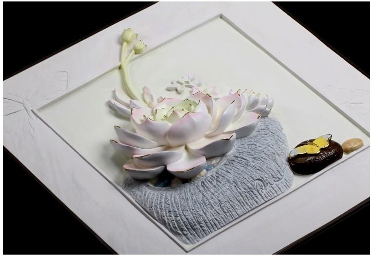 Tranh phù điêu 3D nổi sen đá thủy chung